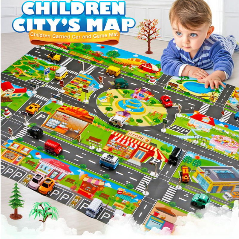 130*100CM Baby Mat Simulation Traffic Car Game Pad Kid Play Mat Foldable Waterproof Anti-skid Carpet Children Game Mat