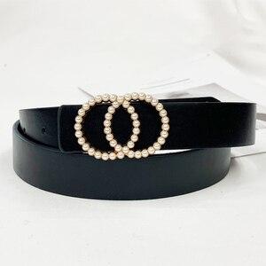 Women's belt luxury brands belts for women 2020 G cinturones para mujer double O pearl buckle ladies dress waistband ремни