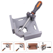 Aluminum Alloy Single Handle 90 Degree Right Angle 2-Axis Fixture Clamp Adjustable Corner Vise for Drilling Furniture Woodwork