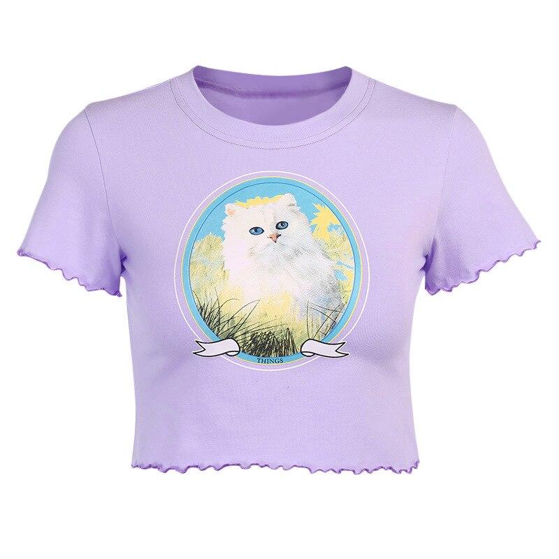 Купить женская футболка с принтом кота lofia повседневная облегающая