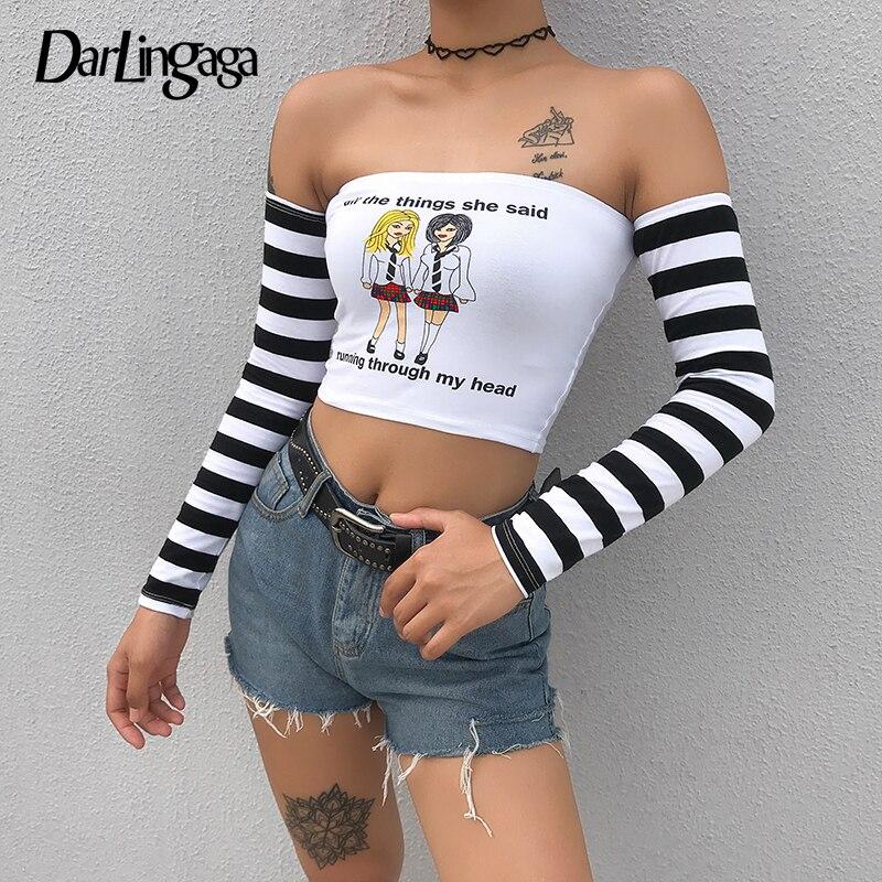 Darlingaga Harajuku Autumn Off Shoulder Top Female T-shirt Stripe Patchwork Letter Print Tshirt Long Sleeve Crop Tops Tees Slim