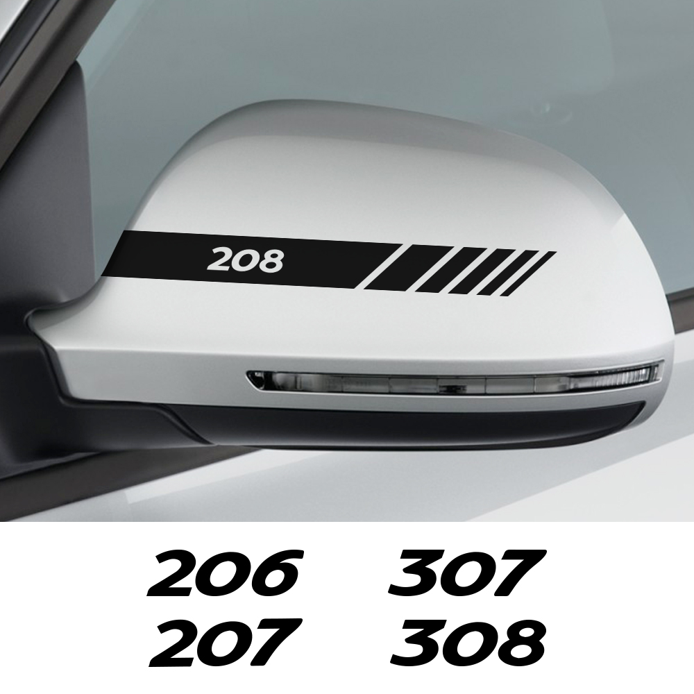 Car Rearview Mirror Cover Stickers Decals For Peugeot 206 207 208 307 308 407 107 301 306 406 408 508 607 2008 Auto Accessories