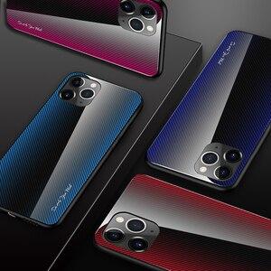 Image 2 - 25pcs Stripe Gradient Glass Phone Case for Xiaomi 10 Pro/CC9/Redmi 8A/K20 Pro/Redmi Note 9s/Note 8T/Note 9 Pro/Note 8 Pro/Note 7