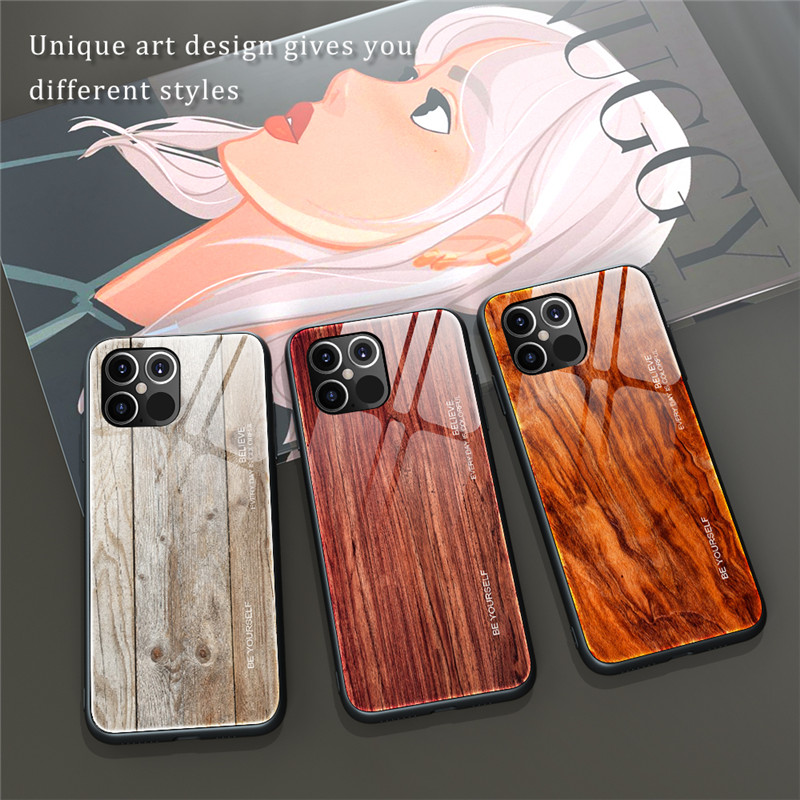 New Luxury Liquid Silicone Wood Grain Wooden Case For iPhone 12 Pro Max 1