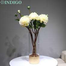 INDIGO-2 heads Cream Color Dahlia Daisy Chrysanthemum Home Banquet Decorative Artificial Flower Wedding Party Free Shipping