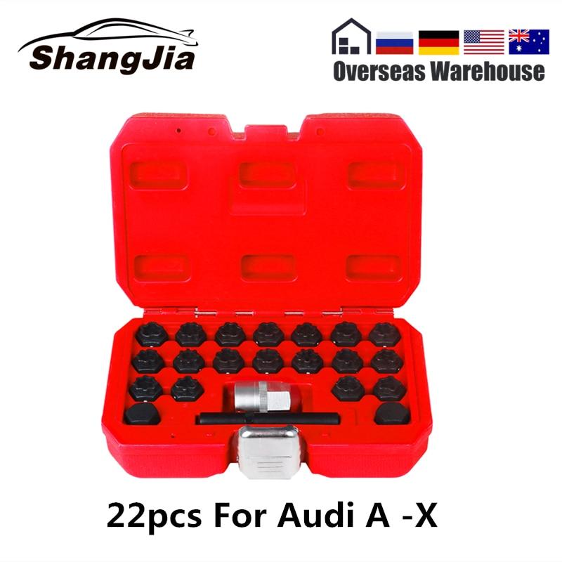 22pcs Car Locking Wheel Nut Removal  Tool Key Socket Anti-Theft Screw Sleeve Wheel Lock Screws For Audi Locking Keys Type A -X