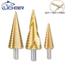 UCHEER Hss Steel Titanium Step Drill Bitสามเหลี่ยมShank 4 12/4 20/4 32 Augerสว่านกลาง