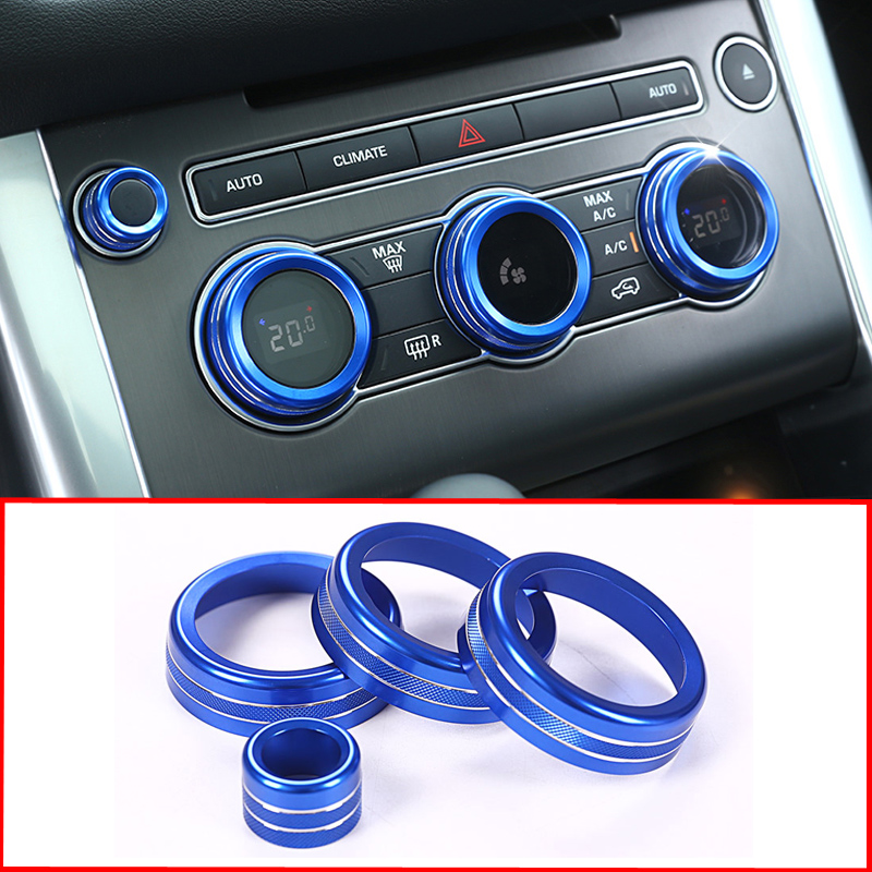 Car-styling Air Conditioning Knob Audio Circle Cover Trim for Land <font><b>Rover</b></font> <font><b>Range</b></font> <font><b>Rover</b></font> <font><b>Vogue</b></font> <font><b>L405</b></font> 2013-2017 <font><b>Range</b></font> <font><b>Rover</b></font> Sport 2014 image