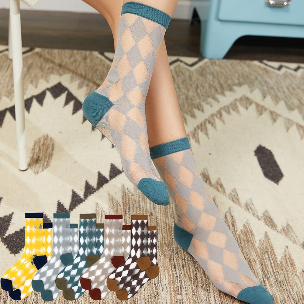 Женские носки Saina, Новые короткие носки на весну и лето, новинка, носки с цветными вставками бриллиантами, хлопковые повседневные дамские носки на каблуке