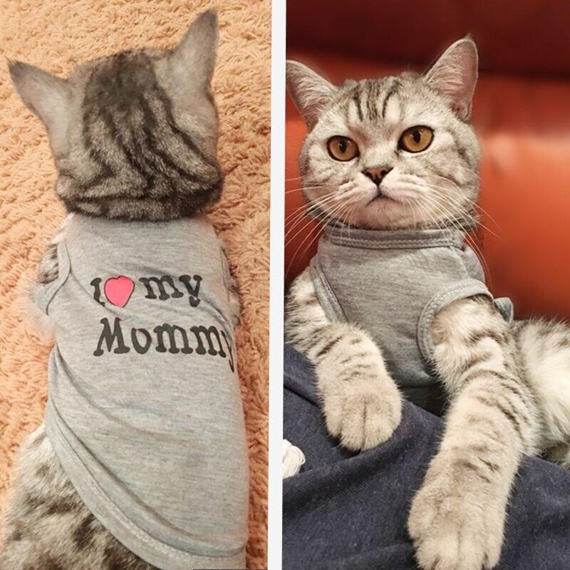 Милая собака Кот рубашка с рисунком «собаки» Pet Костюмы сезон: весна–лето дышащий жилет для кошек небольшой для собачек-Мопсов котенок