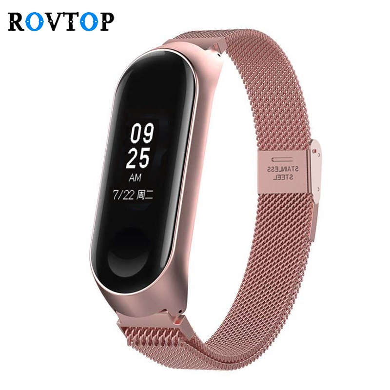 Rovtop Metal Smart Bracelet Stainless Steel Wrist Strap For Xiaomi Mi Band 3 4 Strap Wrist Band Bracelet Strap For MiBand 4 3 Z2
