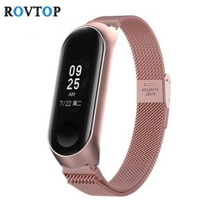 Image 1 - Metall Smart Armband Edelstahl Handgelenk Gurt für Xiaomi Mi Band 3 4 5 Strap Handgelenk Band Armband Armband für miBand 5 4 3 Z2