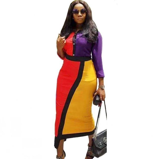 Colors Patchwork Maxi Dresses Women Turn Down Collar Full Sleeve Blouse Dress Fashion Autumn Irregular Elegant Office Lady Dress 1