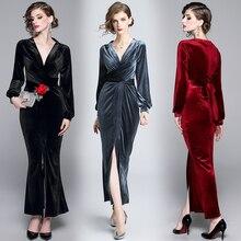 2019 new high-end solid color V-neck tie velvet dress slim long skirt