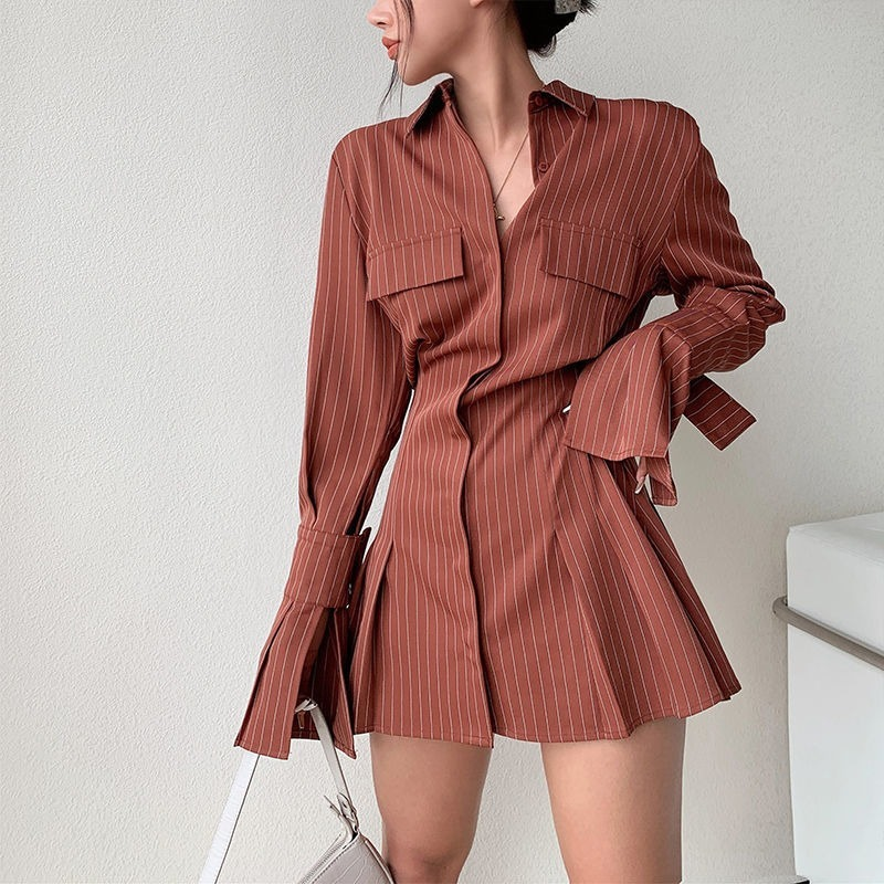 2021 Spring Long Sleeve White Pleated Shirts Women Casual Turn Down Collar Chiffon Blouse Office Lady A Line Style Vestidos Tops 9