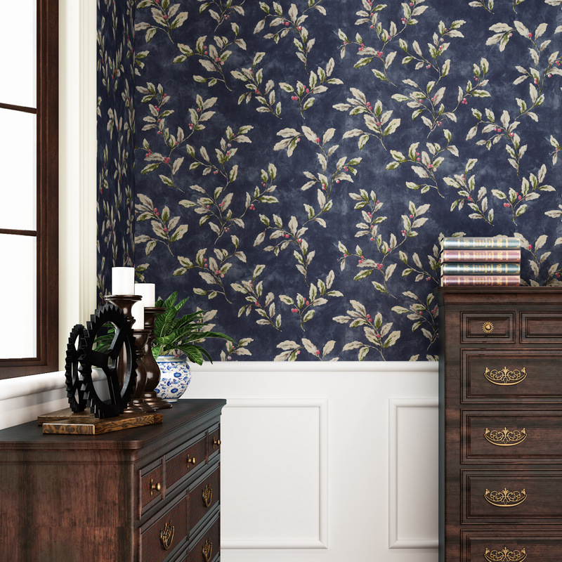 Retro American-Style Chinese Style Leaves Non-Woven Pure Wallpaper Living Room Restaurant Literature And Art Bar Leaves Dark Blu