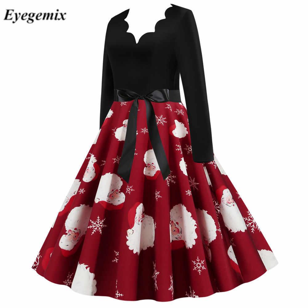 אדום גדול נדנדה הדפסת בציר גלימת חג המולד שמלת נשים החורף מזדמן ארוך שרוול V צוואר סקסי חדש שנה מסיבת שמלה בתוספת גודל 3XL