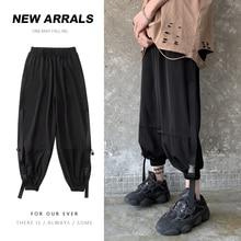 Summer Elastic Waist Casual Pants Men's Fashion Solid Color Sweatpants Men Streetwear Wild Loose Hip-hop Tooling Trousers M-2XL