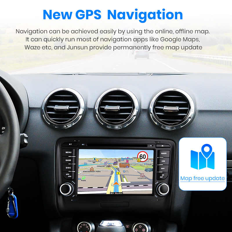 Junsun 4G + G 2 64 MK2 8J DIN Car DVD Automotivo GPS Para Audi TT 2006 2007 2008 2009 2010 2011 2012 Car Multimedia Player de Rádio
