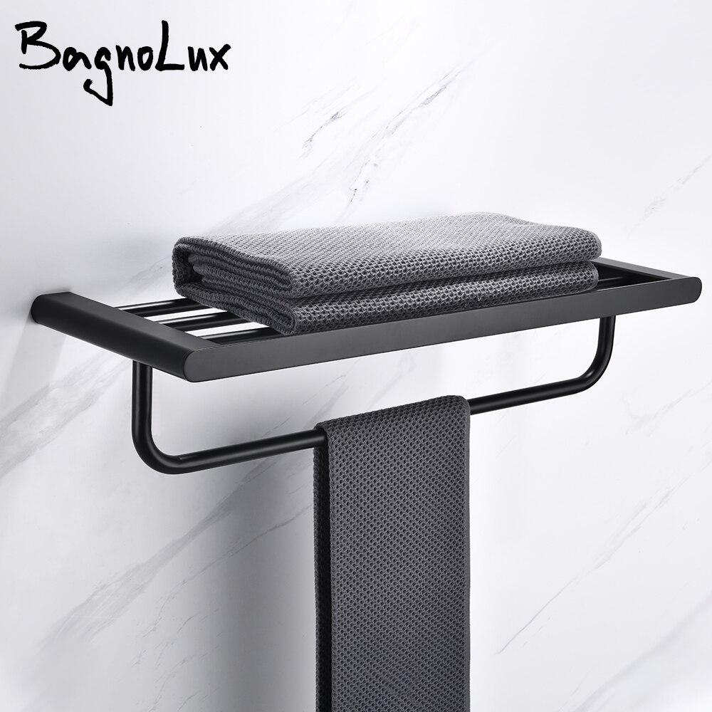 Matte Black Stainless Steel Modern Towel Bathrobe Clothes Holder Rack Double layer Kitchen Bathroom WC Accessories