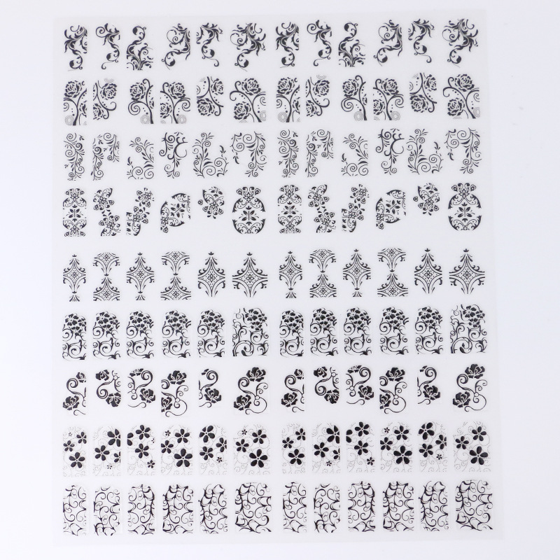108 Stickers Nail Sticker Manicure Gold Foil Stickers 3D Metal Fully Flower Stickers Crustacean Chong Guang Treatment Nail Ornam
