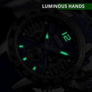 Image 3 - MEGIR reloj deportivo de silicona para hombre, cronógrafo de cuarzo militar, marca de lujo, Zegarek Meski Erkek Kol Saati