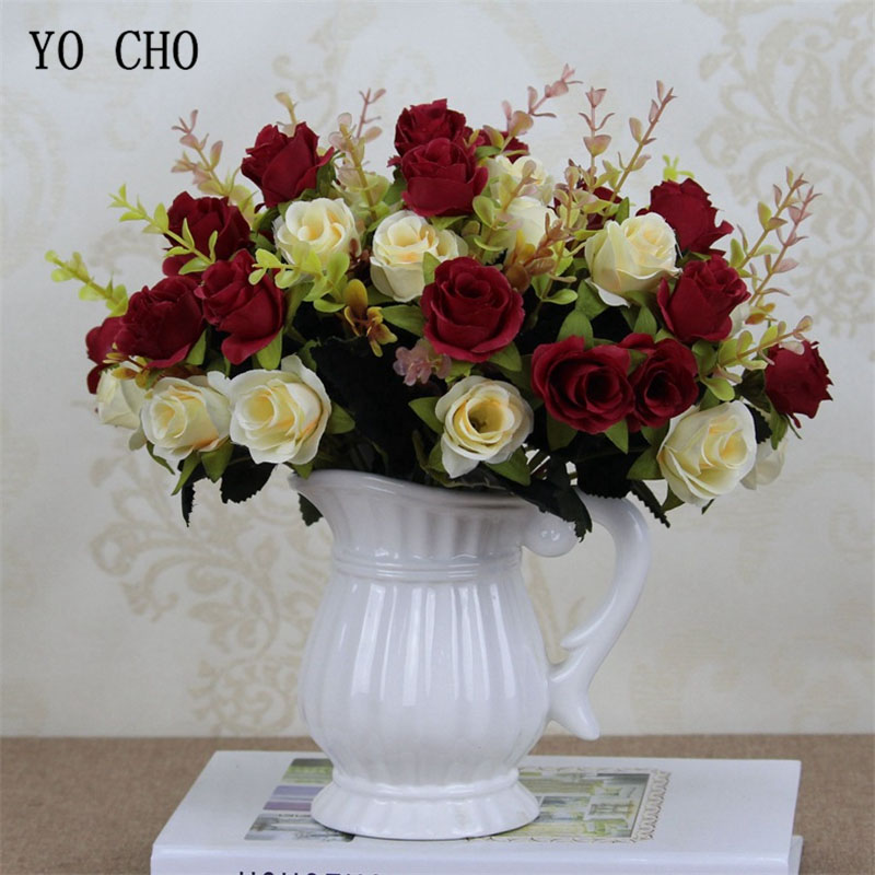 YO CHO Autumn Fake Rose Artificial Flores Bunch Red 6 Heads Roses Flores Home Wedding Party Decoration Silk Flowers Rose Bouquet