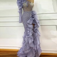 Arabian Prom Gown Beads Gorgeous Evening Gowns Mermaid Custom Made Floor Length One Shoulder Ruffles Formal Dress Slit