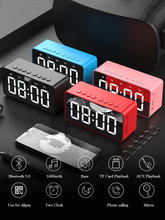 Alarm Clock Portable Bluetooth Speaker With 12h Or 24h Time Display/tf/fm/rechargeable Battery 1600mah/ Snooze Mode/led Display стоимость