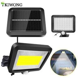 Iluminação led 56/100 com painel solar, com sensor de movimento pir, lâmpada para parede com sensor de energia, à prova d' água, para áreas externas, iluminação interna