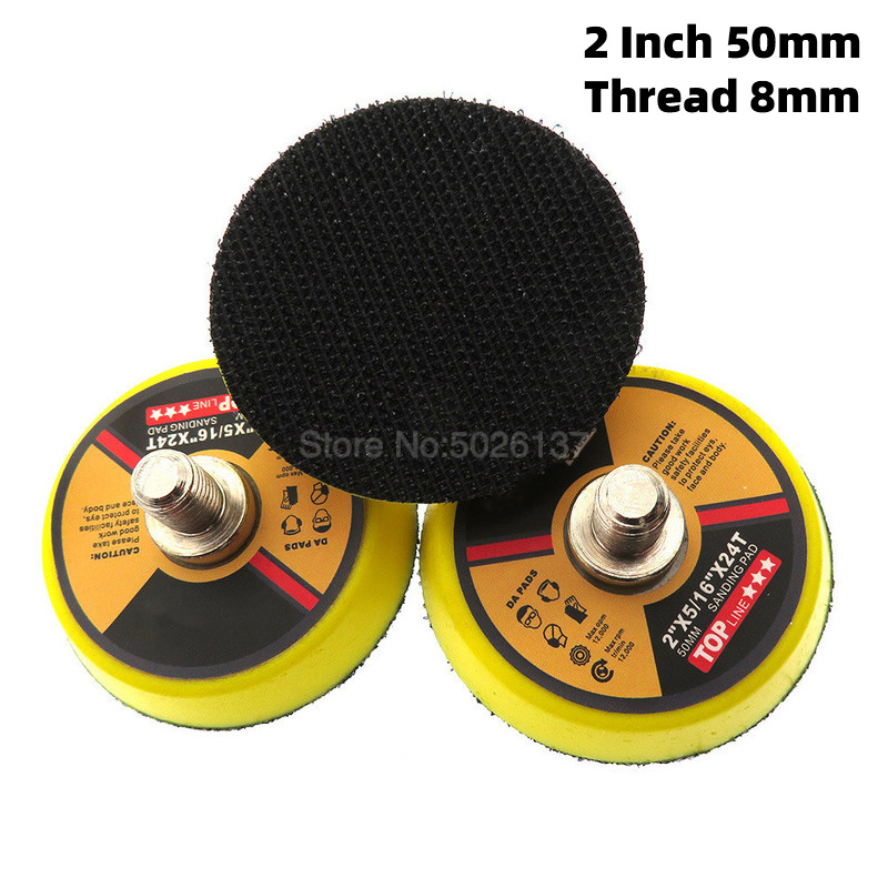 1Pc 2-Inch 50mm M8 Shank Self-adhesive Sanding Disc Round Abrasive Dry Sandpaper Pad Pneumatic Tray Loop Polishing Cleaning Tool