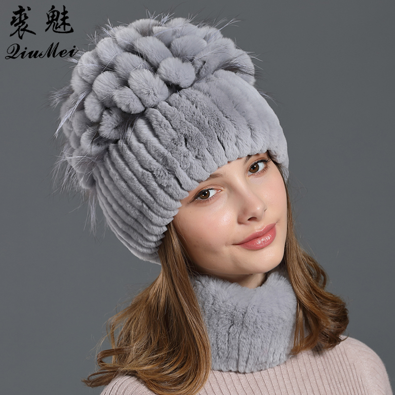 Genuine Rex Rabbit Fur Beanies Neck Ring Sets Knitted Real Fox Cap Female Winter 2019 Natural Fur Women Sets Scarves Beanies