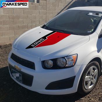 Dla-Chevrolet Sonic maska samochodu naklejka na maskę sporty wyścigowe kolorowe paski Auto pokrywa silnika wystrój etykiety winylowe akcesoria tanie i dobre opinie OwakeSped Głowy CN (pochodzenie) Elemental pożaru Klej naklejki 0inch Words Kreatywne naklejki Nie pakowane TYX40J0911S