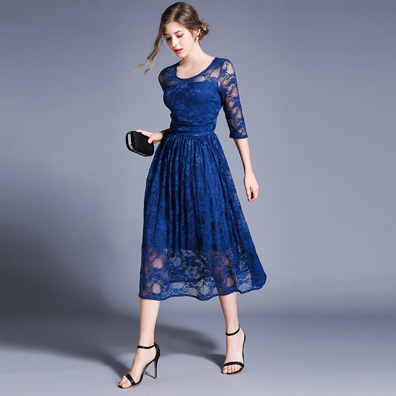 WOMEN'S Dress 2019 Summer New Products-Style Slim Fit Slimming Mid-length Lace Big Hemline Three-quarter-length Sleeve Full Body