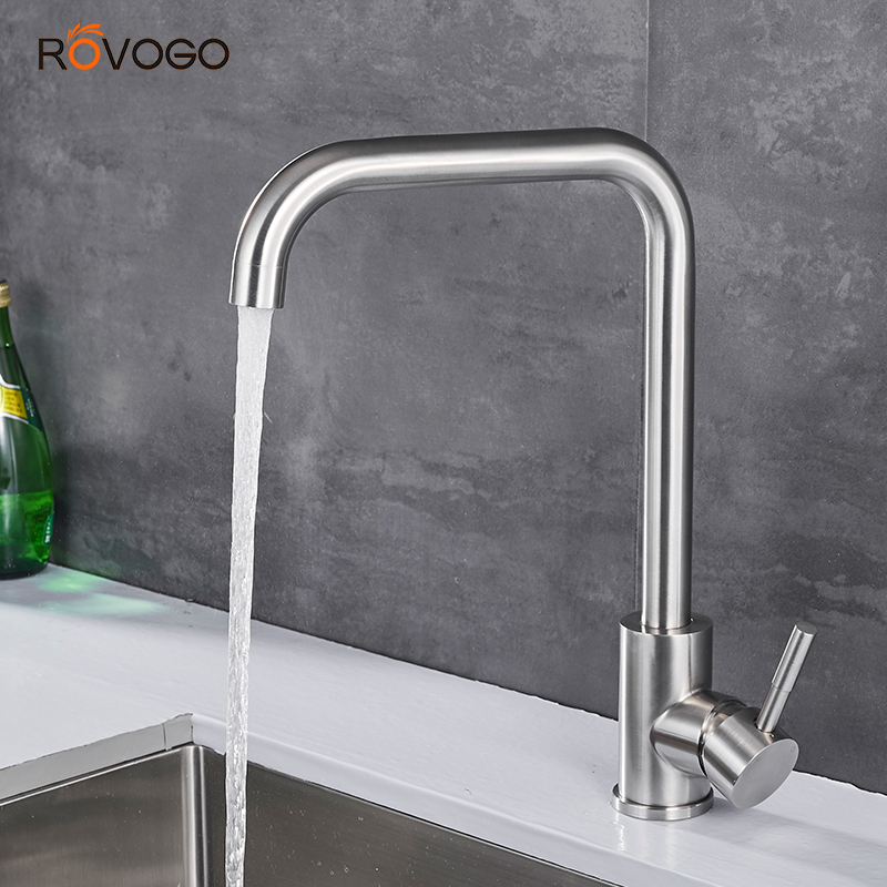 ROVOGO 304 Stainless Steel  Sink Faucet Deck Mounted, 360 Degree Rotation Single Handle Hot Cold Mixer Taps Crane