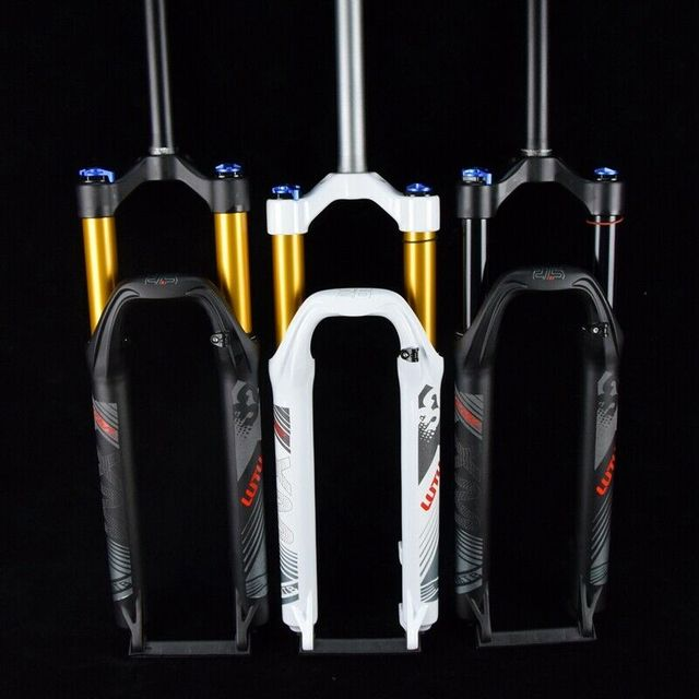 """LUTU 산악 자전거 포크 26/27.5/ 29 """"MTB 에어 포크 스트레이트 튜브 여행 100mm 수동 잠금 리지드 디스크 브레이크 서스펜션 포크"""