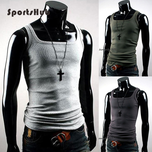 SPORTSHUB Cotton Sports Tops Tanks Gym Bodybuilding VEST Singlet Fitness Vest Summer T Shirt Mens Sport Jersey SAA0007