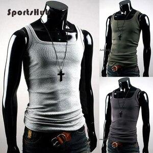 Image 1 - SPORTSHUB pamuk spor üstleri tankları erkek spor atleti yelek atlet spor yelek yaz T gömlek erkek spor forması SAA0007