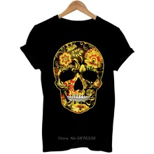 Flower Skull Candy Day Of The Dead Mexico Sugar Skull Gothic Mens T Shirt Tees Cool Casual Pride T Shirt Men Unisex New Fashion