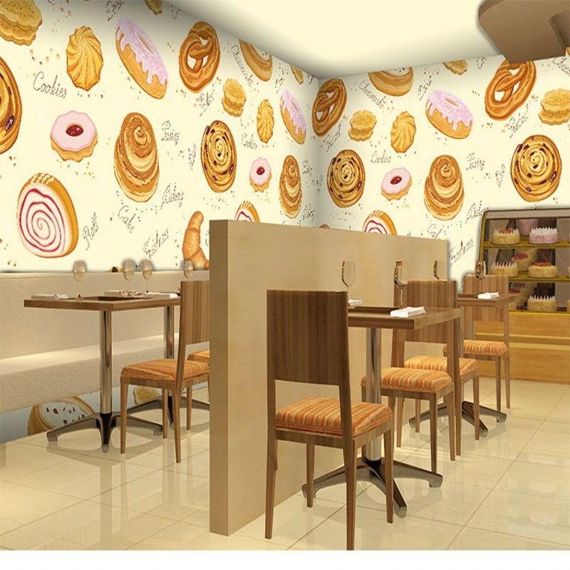 Drop Shipping Wallpaper 3d Personality Bakery Wallpaper Dessert Tea Shop Fast Food  Large Mural 3D Stereo Cake Room Wallpaper