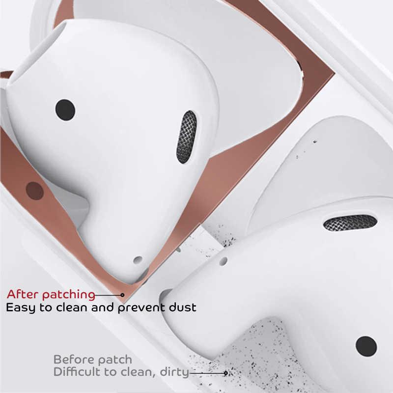โลหะป้องกันฝุ่นสติกเกอร์สำหรับ Airpods 1 2 ป้องกันผิวสติกเกอร์สำหรับ Apple AirPods 1 หูฟังชาร์จกล่องกรณีเปลือกผิว