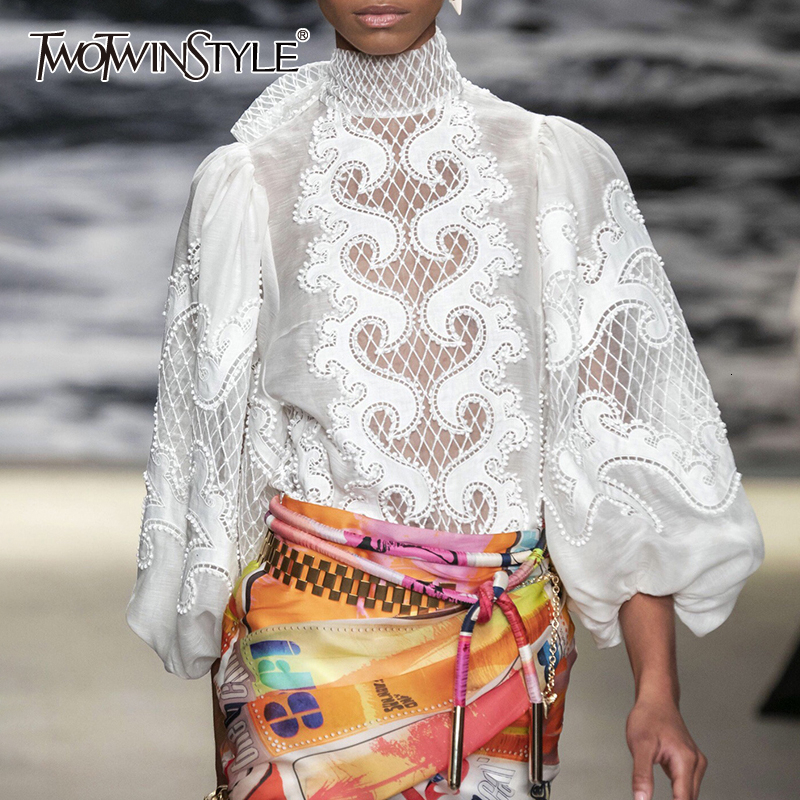 TWOTWINSTYLE White Elegant Embroidery Women's Shirt Scarf Collar Lantern Sleeve Female Shirts Clothing Autumn Fashion New