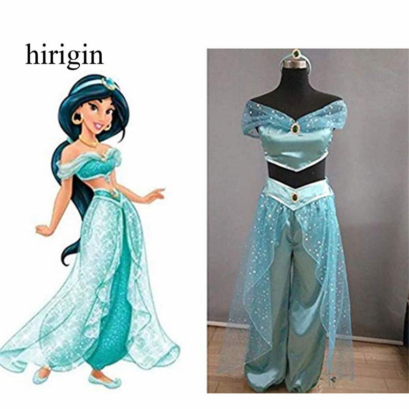 Retro Halloween Adult Women Cosplay Costumes Decor Blattern Rock Halloween Womens Girls Jasmine Princess Dress Up Halloween Hot