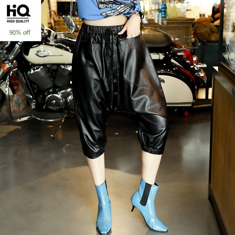 2020 New Autumn Calf Length Genuine Leather Pencil Pants Women Natural Sheepskin Female Natural Leather Elastic Waist Trousers