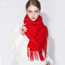 Новинка 2020 зимний женский шарф длинный толстый красный плащ