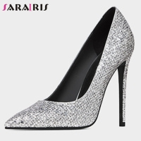 SARAIRIS Fashion Ladies Spring Pumps Pointed Toe High Heel Shallow Slip On Pumps Women Party Dress Office Shoes Woman