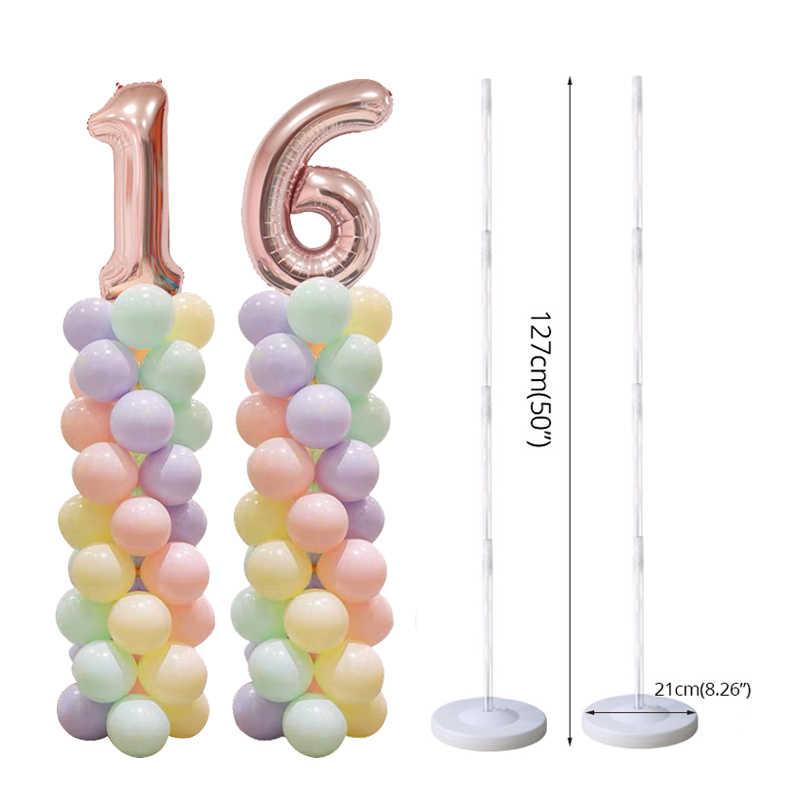 2 ชุดผู้ใหญ่เด็กวันเกิดบอลลูนคอลัมน์ขาตั้งจัดงานแต่งงานตกแต่งเด็กทารก 100pcs Latex globos สำหรับหมายเลขบอลลูน