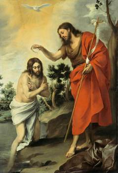 Bartolome Esteban Murillo The Baptism of Christ Art Print Poster oil paintings canvas For Home Decor Wall Art image