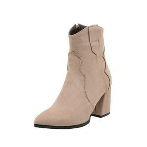 Image 4 - Botas femininas de salto alto tornozelo simples inverno versátil cor sólida botas zip rebanho apontou toe senhora sapatos Size34 48 preto bege