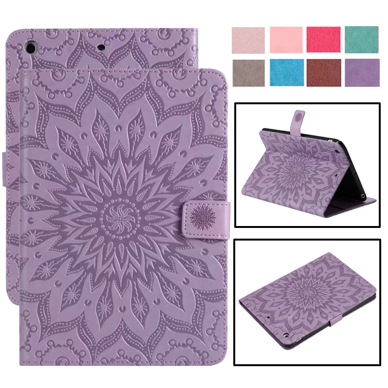 For <font><b>iPad</b></font> Mini 5 Mini5 2019 Case Mini 4 3 2 1 Smart Case Cover Funda Tablet Cat Sun Flower Pattern Flip Stand Skin Capa <font><b>Coque</b></font> image